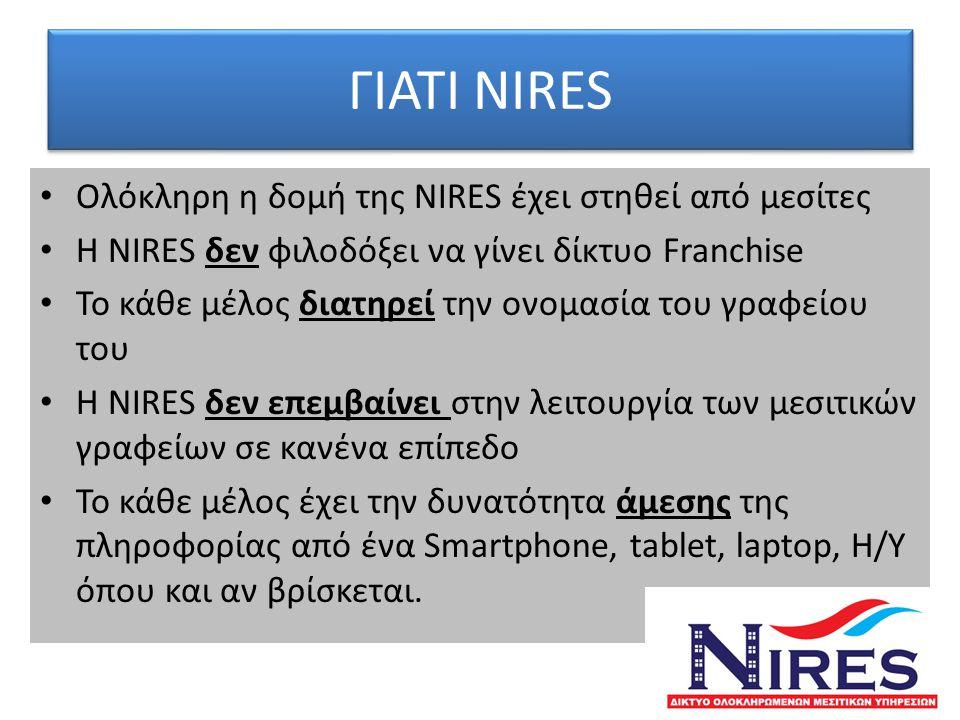ΓΙΑΤΙ NIRES Ολόκληρη η δομή της NIRES έχει στηθεί από μεσίτες
