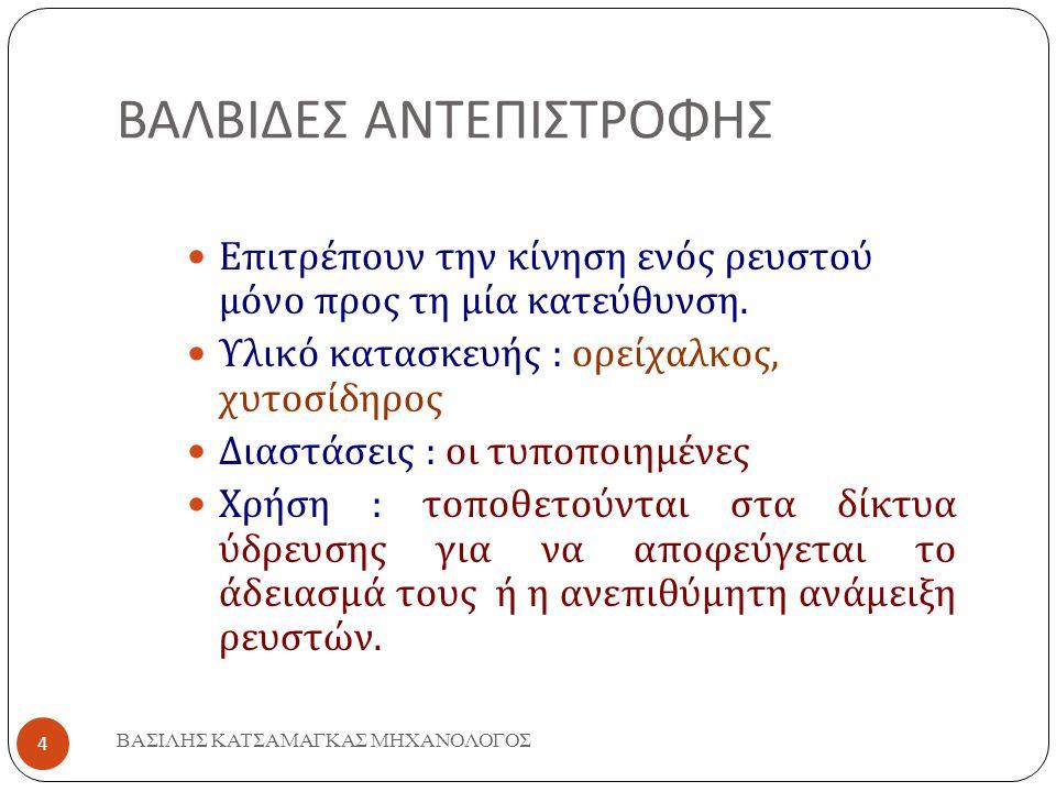 ΒΑΛΒΙΔΕΣ ΑΝΤΕΠΙΣΤΡΟΦΗΣ