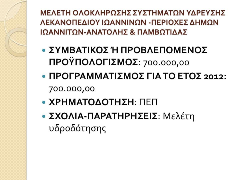 ΣΥΜΒΑΤΙΚΟΣ Ή ΠΡΟΒΛΕΠΟΜΕΝΟΣ ΠΡΟΫΠΟΛΟΓΙΣΜΟΣ: 700.000,00
