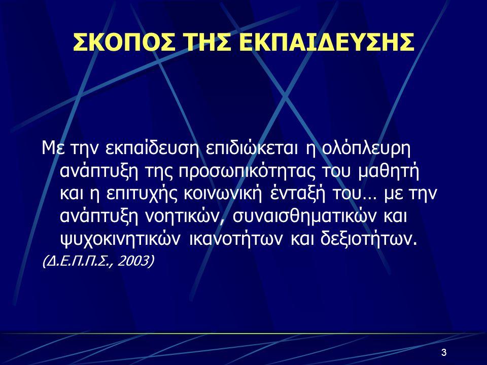 ΣΚΟΠΟΣ ΤΗΣ ΕΚΠΑΙΔΕΥΣΗΣ