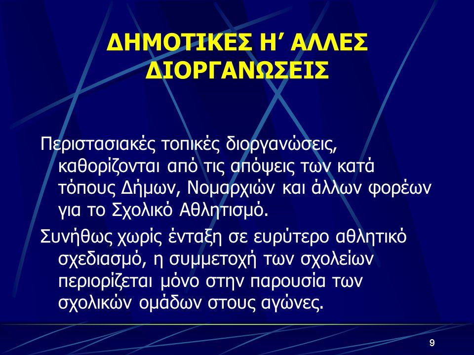 ΔΗΜΟΤΙΚΕΣ Η' ΑΛΛΕΣ ΔΙΟΡΓΑΝΩΣΕΙΣ