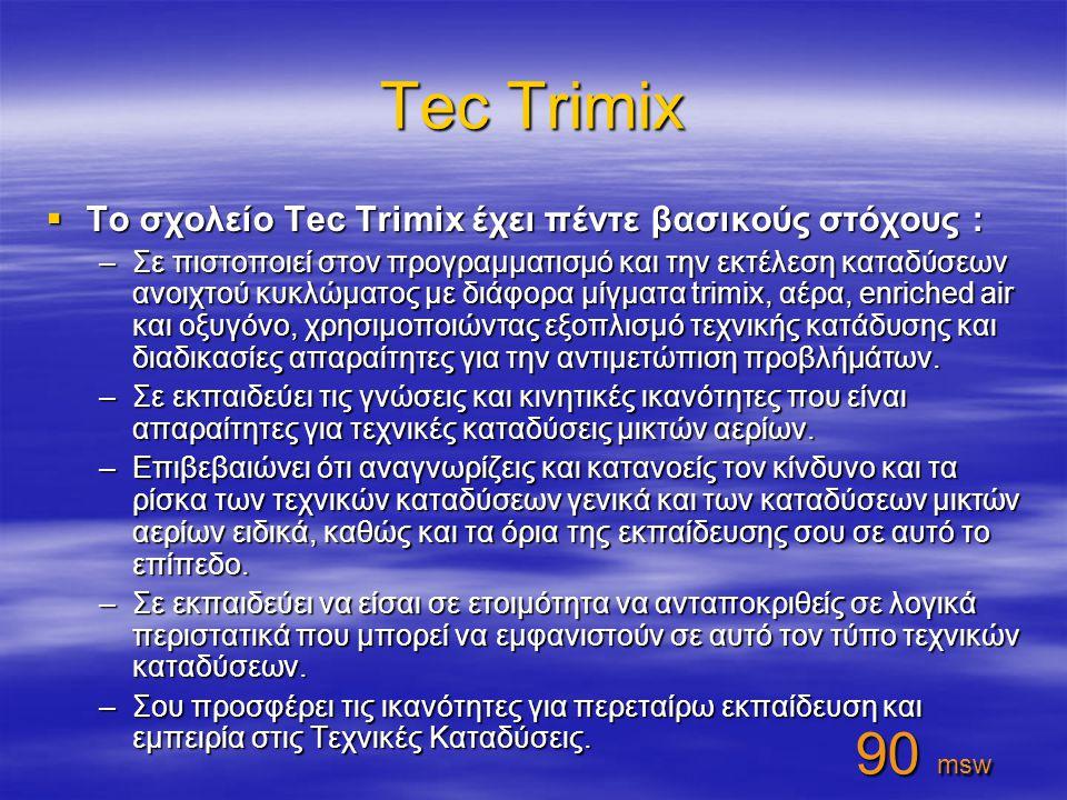 Tec Trimix 90 msw Το σχολείο Tec Trimix έχει πέντε βασικούς στόχους :