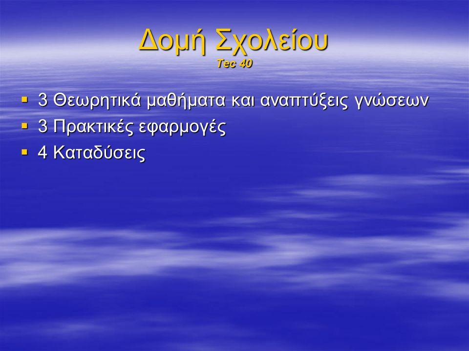Δομή Σχολείου Tec 40 3 Θεωρητικά μαθήματα και αναπτύξεις γνώσεων