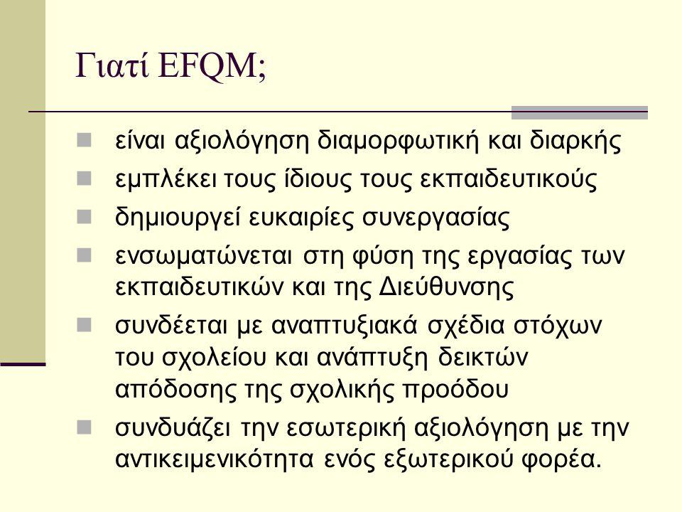 Γιατί EFQM; είναι αξιολόγηση διαμορφωτική και διαρκής