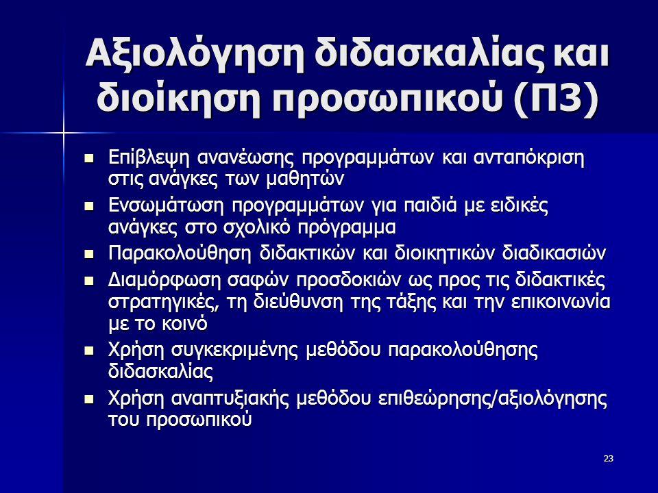 Αξιολόγηση διδασκαλίας και διοίκηση προσωπικού (Π3)