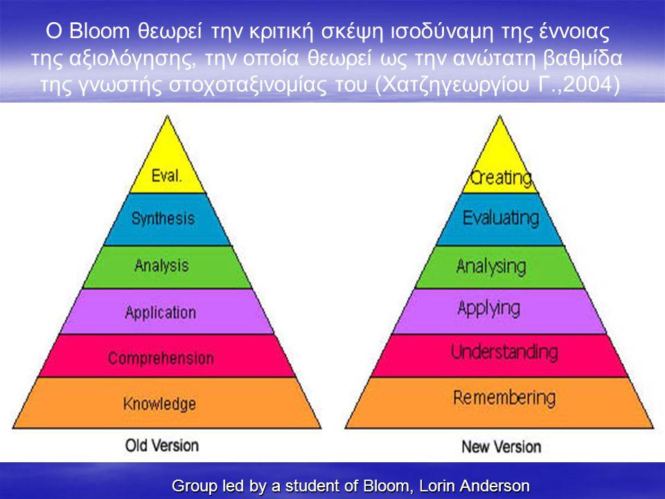 Ο Βloom θεωρεί την κριτική σκέψη ισοδύναμη της έννοιας της αξιολόγησης, την οποία θεωρεί ως την ανώτατη βαθμίδα της γνωστής στοχοταξινομίας του (Χατζηγεωργίου Γ.,2004)