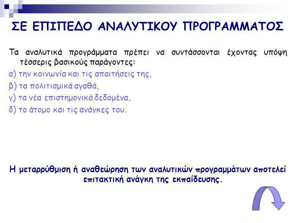 ΣΕ ΕΠΙΠΕΔΟ ΑΝΑΛΥΤΙΚΟΥ ΠΡΟΓΡΑΜΜΑΤΟΣ