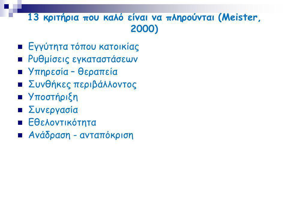 13 κριτήρια που καλό είναι να πληρούνται (Meister, 2000)