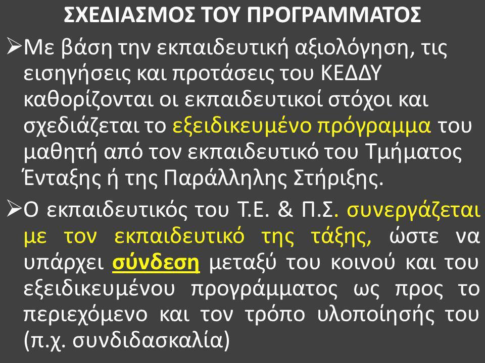 ΣΧΕΔΙΑΣΜΟΣ ΤΟΥ ΠΡΟΓΡΑΜΜΑΤΟΣ