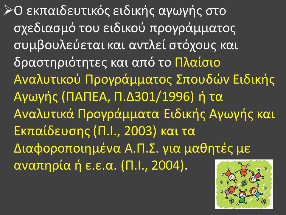 Ο εκπαιδευτικός ειδικής αγωγής στο σχεδιασμό του ειδικού προγράμματος συμβουλεύεται και αντλεί στόχους και δραστηριότητες και από το Πλαίσιο Αναλυτικού Προγράμματος Σπουδών Ειδικής Αγωγής (ΠΑΠΕΑ, Π.Δ301/1996) ή τα Αναλυτικά Προγράμματα Ειδικής Αγωγής και Εκπαίδευσης (Π.Ι., 2003) και τα Διαφοροποιημένα Α.Π.Σ.
