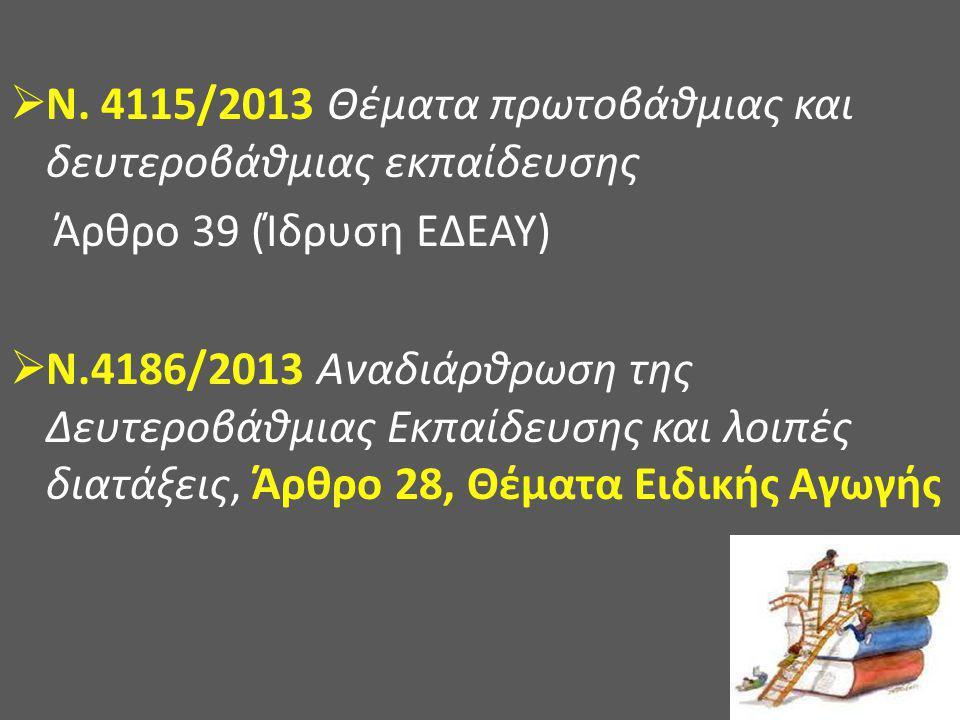 Ν. 4115/2013 Θέματα πρωτοβάθμιας και δευτεροβάθμιας εκπαίδευσης
