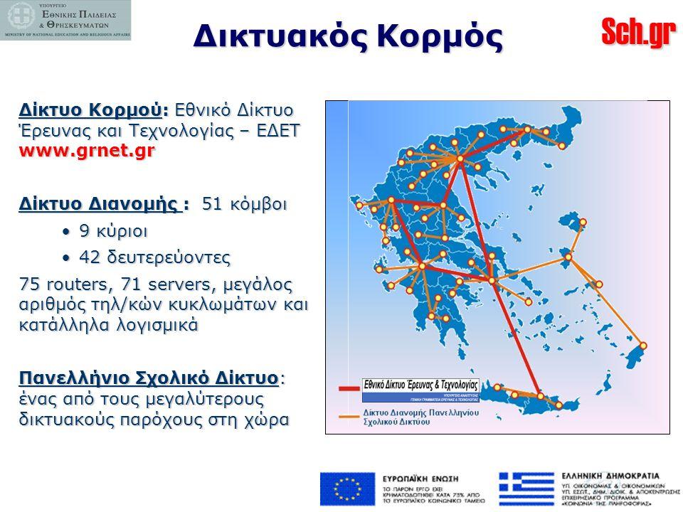 Δικτυακός Κορμός Δίκτυο Κορμού: Εθνικό Δίκτυο Έρευνας και Τεχνολογίας – ΕΔΕΤ www.grnet.gr. Δίκτυο Διανομής : 51 κόμβοι.