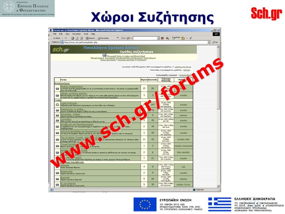 Χώροι Συζήτησης www.sch.gr/forums
