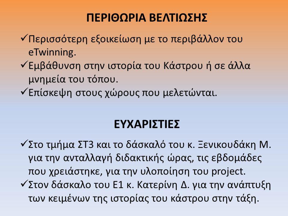 ΠΕΡΙΘΩΡΙΑ ΒΕΛΤΙΩΣΗΣ ΕΥΧΑΡΙΣΤΙΕΣ