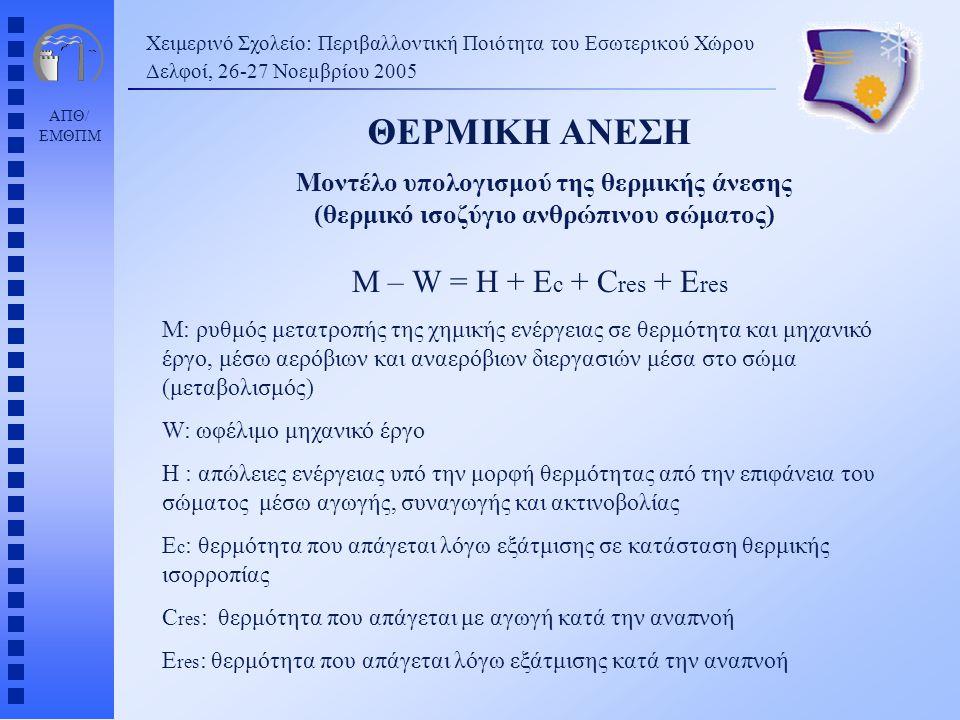 ΘΕΡΜΙΚΗ ΑΝΕΣΗ M – W = H + Ec + Cres + Eres