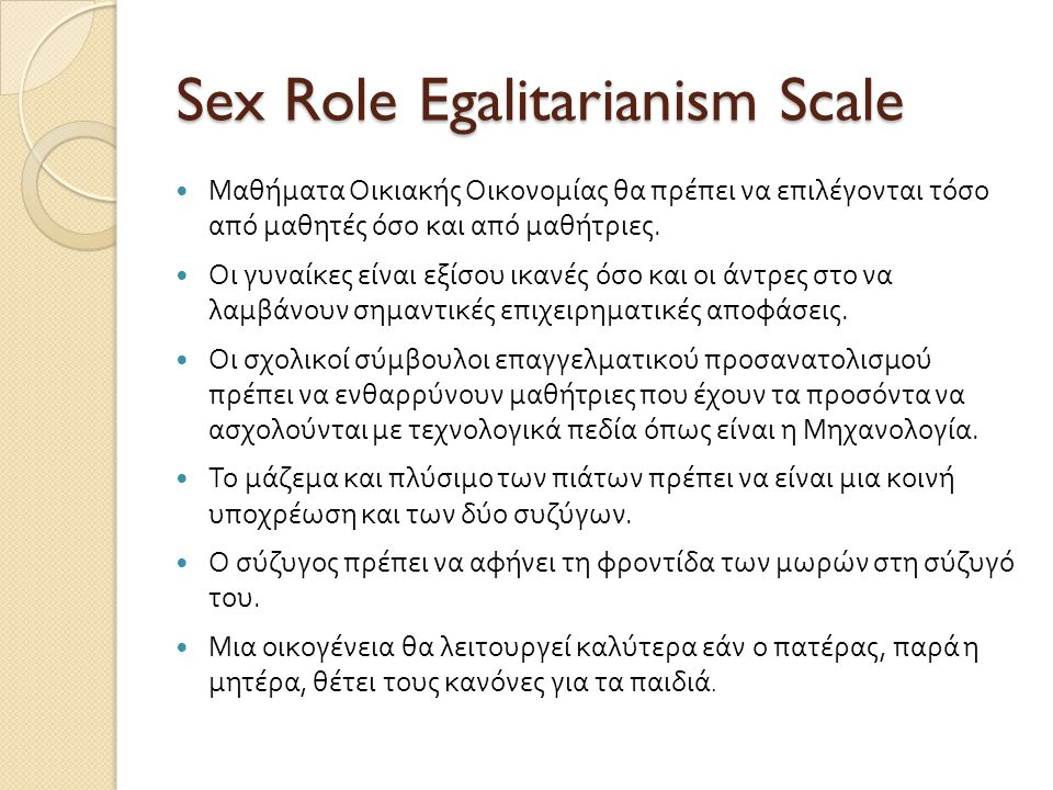 Sex Role Egalitarianism Scale
