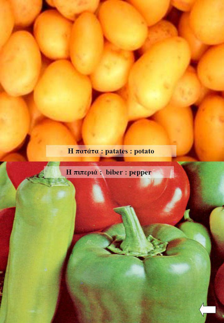 Η πατάτα : patates : potato Η πιπεριά : biber : pepper