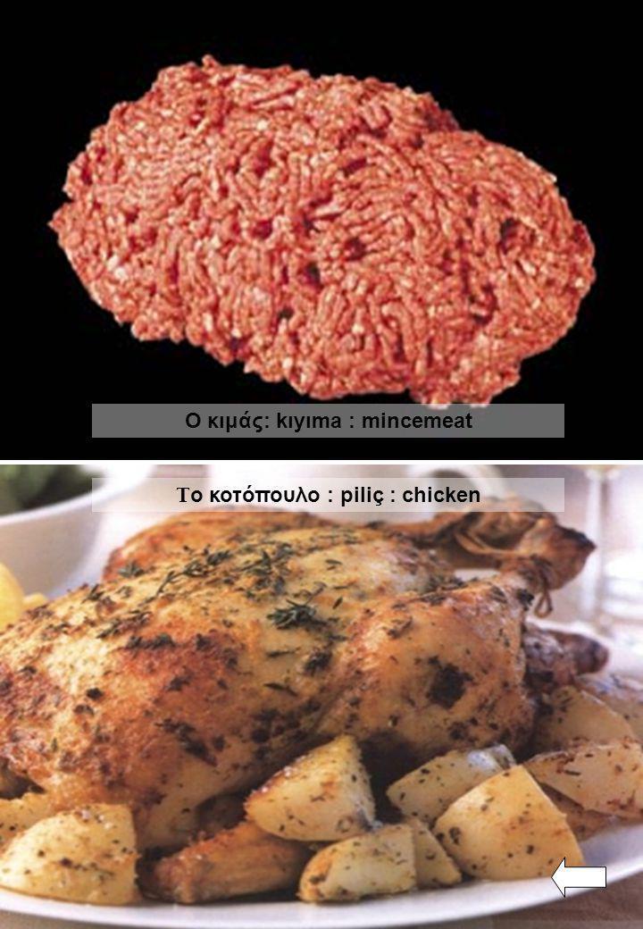 Ο κιμάς: kıyıma : mincemeat Το κοτόπουλο : piliç : chicken