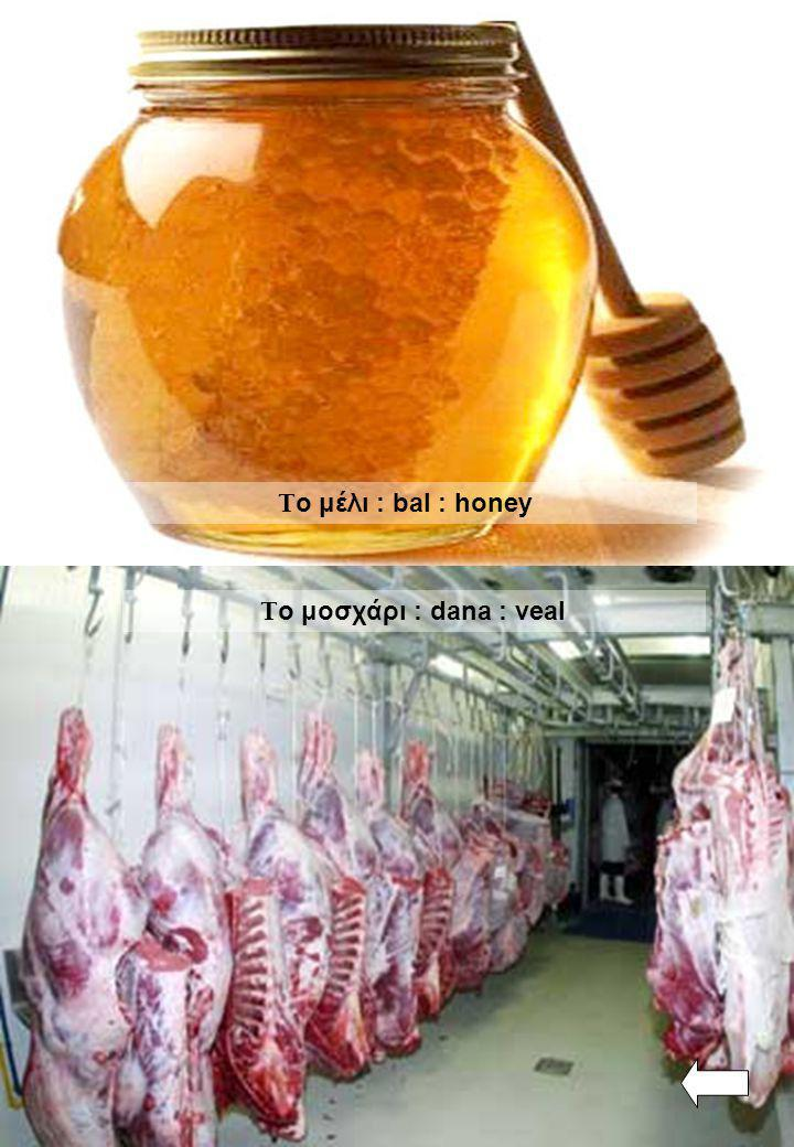 Το μέλι : bal : honey Το μοσχάρι : dana : veal