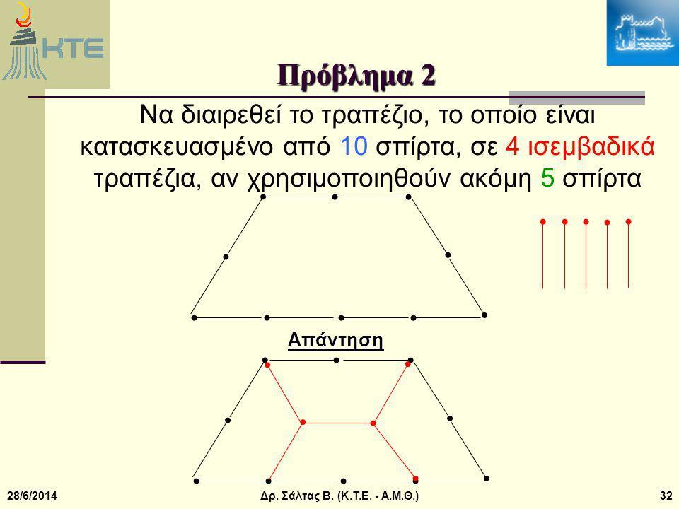 Πρόβλημα 2 Να διαιρεθεί το τραπέζιο, το οποίο είναι κατασκευασμένο από 10 σπίρτα, σε 4 ισεμβαδικά τραπέζια, αν χρησιμοποιηθούν ακόμη 5 σπίρτα.