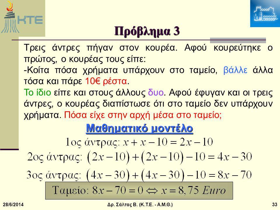 Πρόβλημα 3 Μαθηματικό μοντέλο