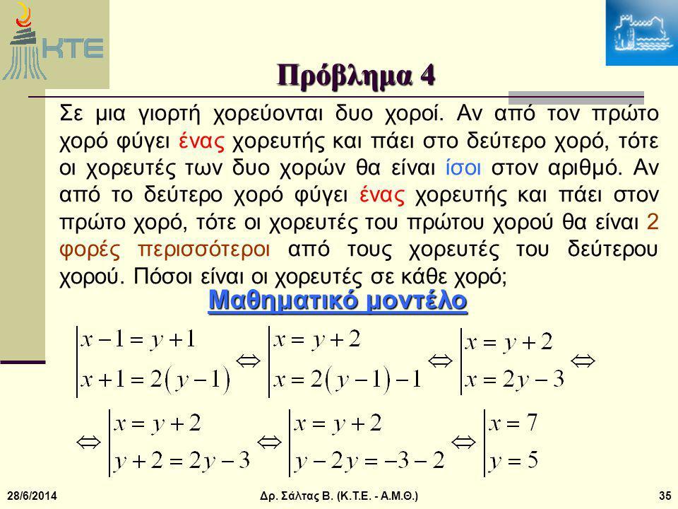 Πρόβλημα 4 Μαθηματικό μοντέλο