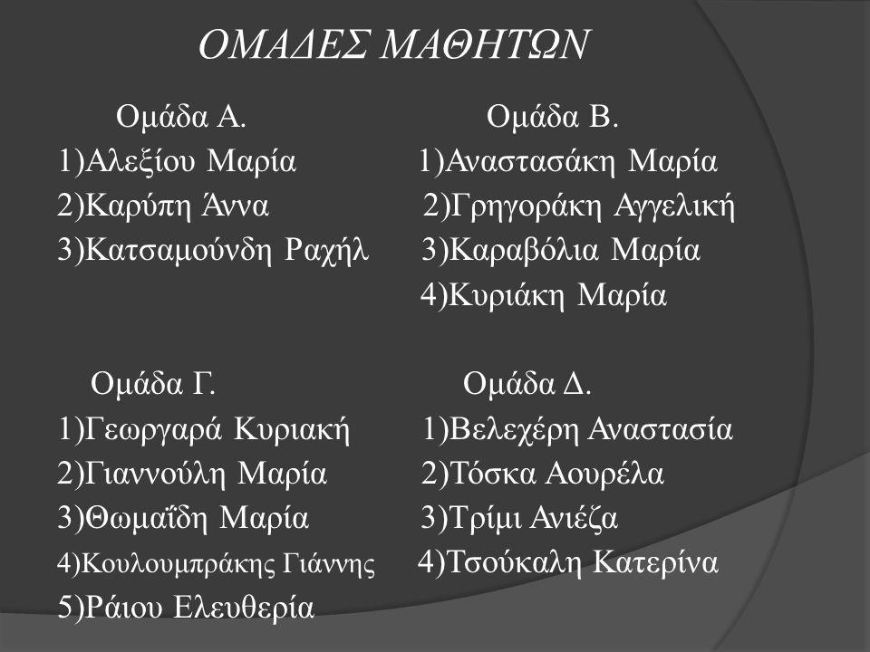 ΟΜΑΔΕΣ ΜΑΘΗΤΩΝ Ομάδα Α. Ομάδα Β. 1)Αλεξίου Μαρία 1)Αναστασάκη Μαρία