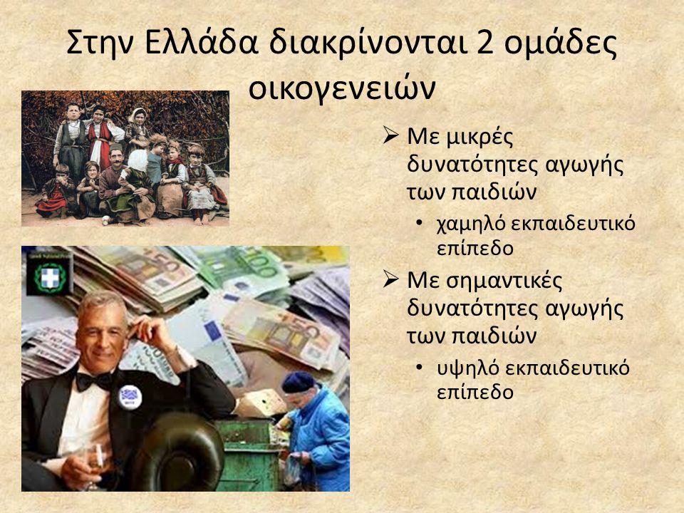 Στην Ελλάδα διακρίνονται 2 ομάδες οικογενειών
