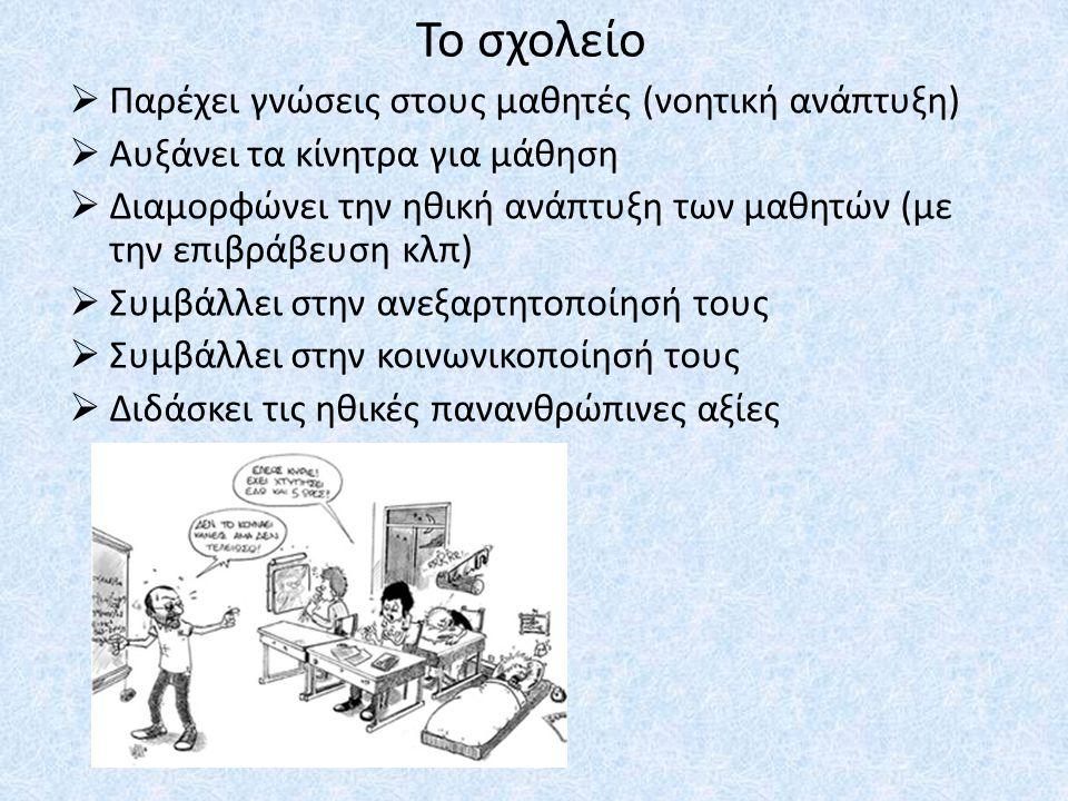 Το σχολείο Παρέχει γνώσεις στους μαθητές (νοητική ανάπτυξη)