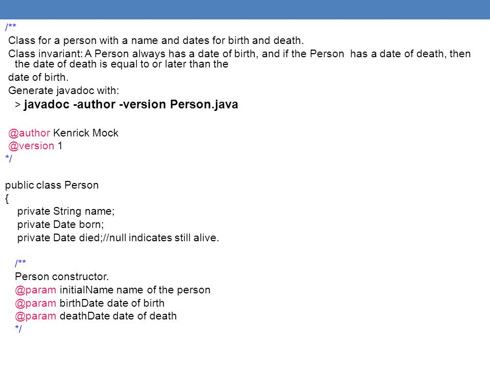 /** Class for a person with a name and dates for birth and death.