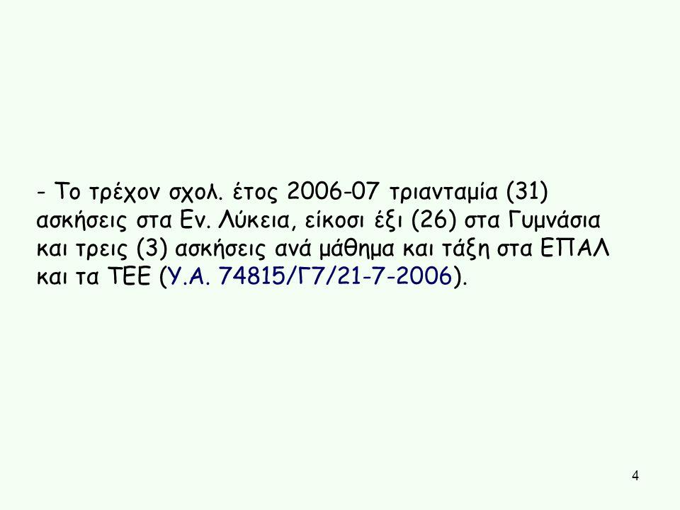 - Το τρέχον σχολ. έτος 2006-07 τριανταμία (31) ασκήσεις στα Εν