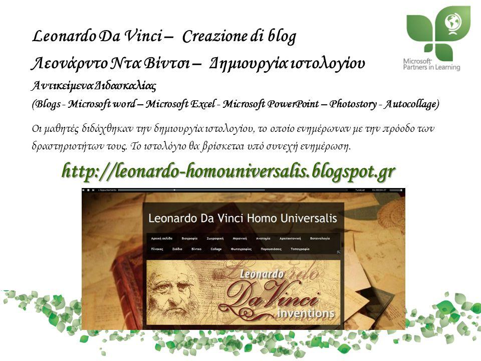 Leonardo Da Vinci – Creazione di blog
