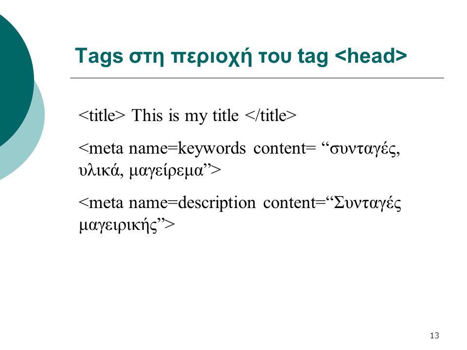 Tags στη περιοχή του tag <head>