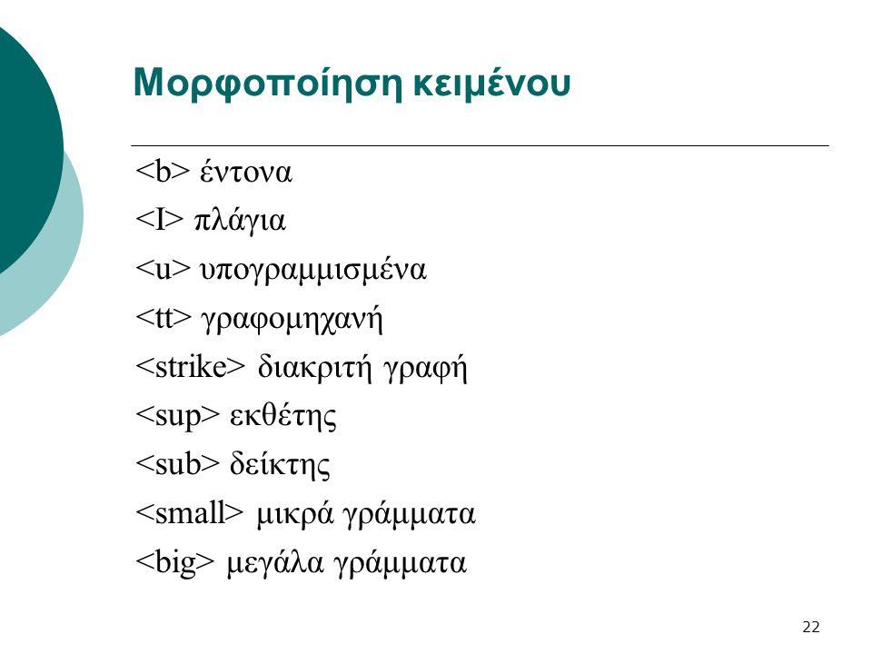 Μορφοποίηση κειμένου <b> έντονα <Ι> πλάγια