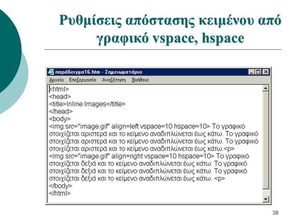 Ρυθμίσεις απόστασης κειμένου από γραφικό vspace, hspace