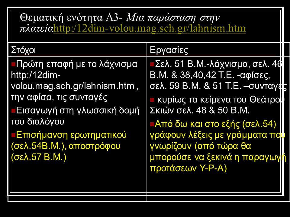 Θεματική ενότητα Α3- Μια παράσταση στην πλατείαhttp:/12dim-volou. mag
