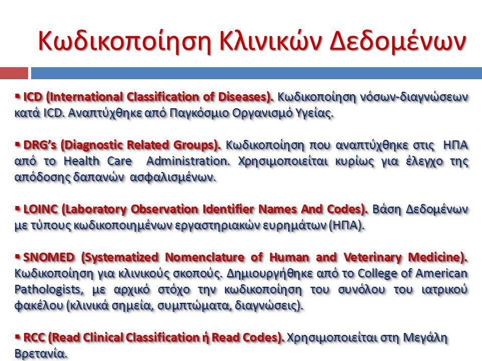 Κωδικοποίηση Κλινικών Δεδομένων