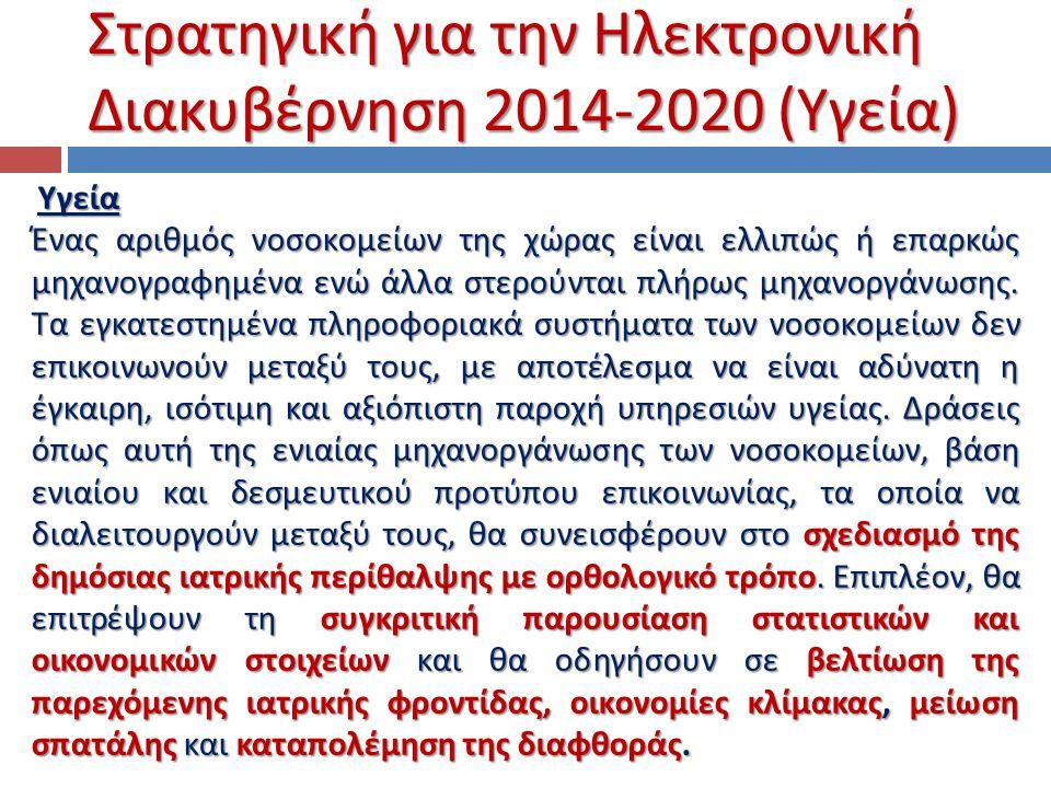 Στρατηγική για την Ηλεκτρονική Διακυβέρνηση 2014-2020 (Υγεία)
