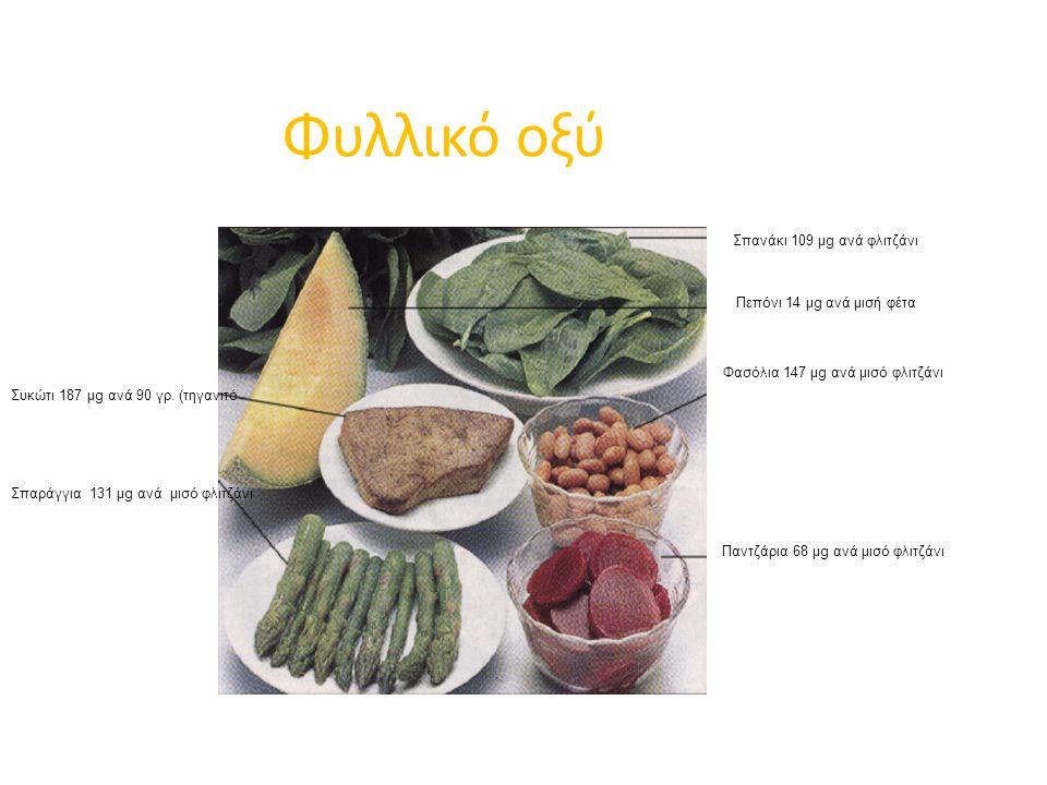 Φυλλικό οξύ Σπανάκι 109 μg ανά φλιτζάνι Πεπόνι 14 μg ανά μισή φέτα