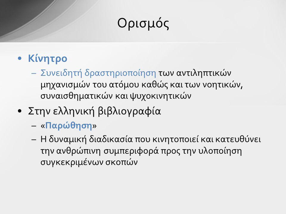 Ορισμός Κίνητρο Στην ελληνική βιβλιογραφία