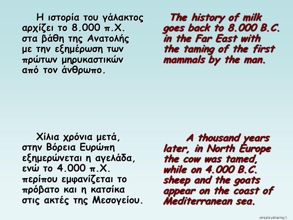 Η ιστορία του γάλακτος αρχίζει το 8. 000 π. Χ