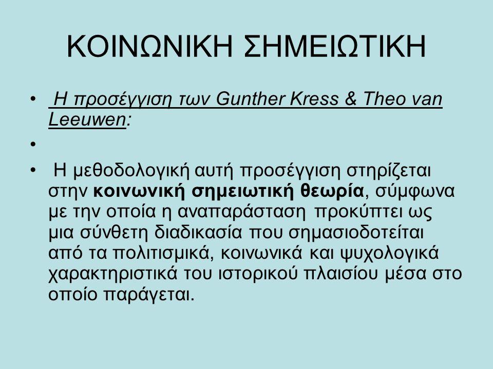 ΚΟΙΝΩΝΙΚΗ ΣΗΜΕΙΩΤΙΚΗ Η προσέγγιση των Gunther Kress & Theo van Leeuwen: