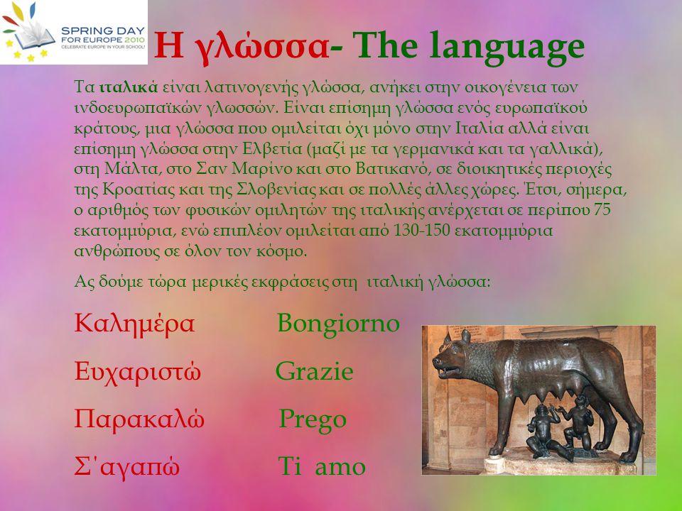 Η γλώσσα- The language Καλημέρα Bongiorno Ευχαριστώ Grazie