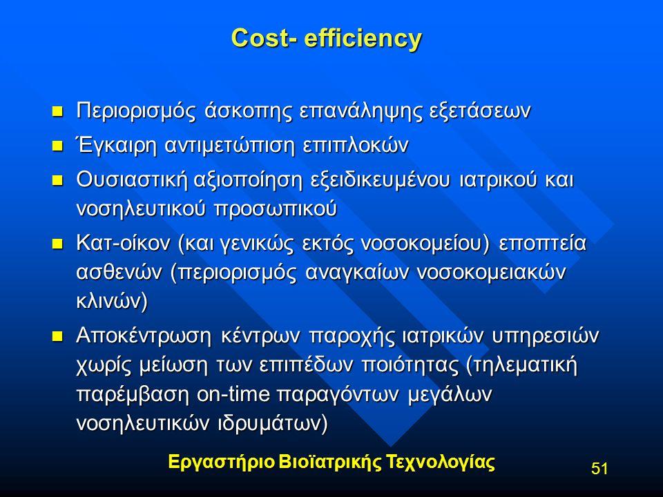 Cost- efficiency Περιορισμός άσκοπης επανάληψης εξετάσεων