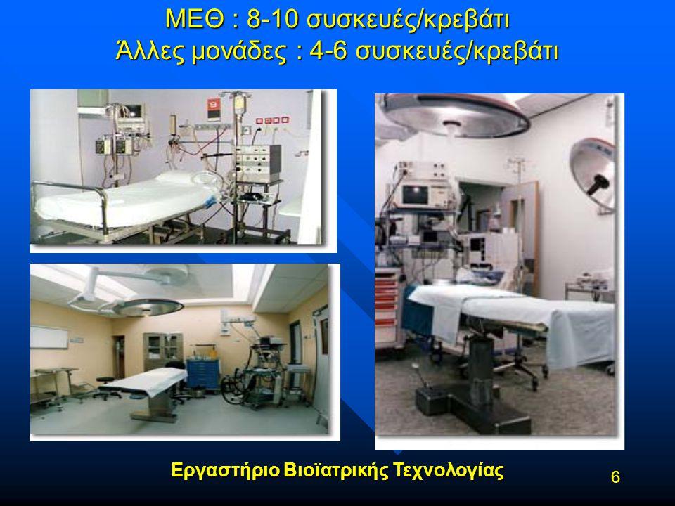 ΜΕΘ : 8-10 συσκευές/κρεβάτι Άλλες μονάδες : 4-6 συσκευές/κρεβάτι