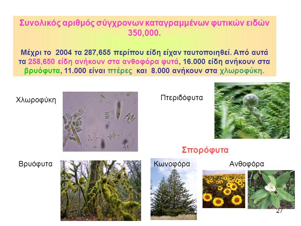 Συνολικός αριθμός σύγχρονων καταγραμμένων φυτικών ειδών 350,000.