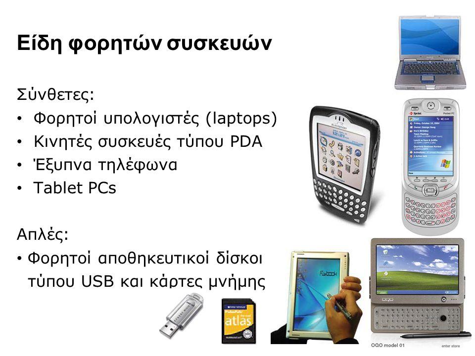 Είδη φορητών συσκευών Σύνθετες: Φορητοί υπολογιστές (laptops)