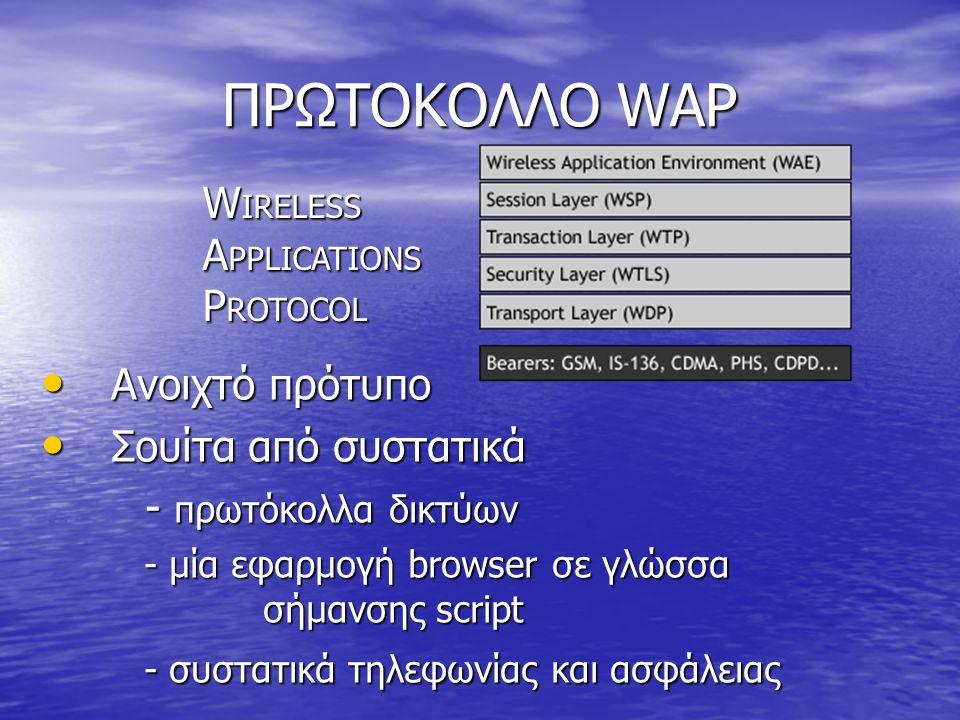ΠΡΩΤΟΚΟΛΛΟ WAP WIRELESS APPLICATIONS PROTOCOL Ανοιχτό πρότυπο