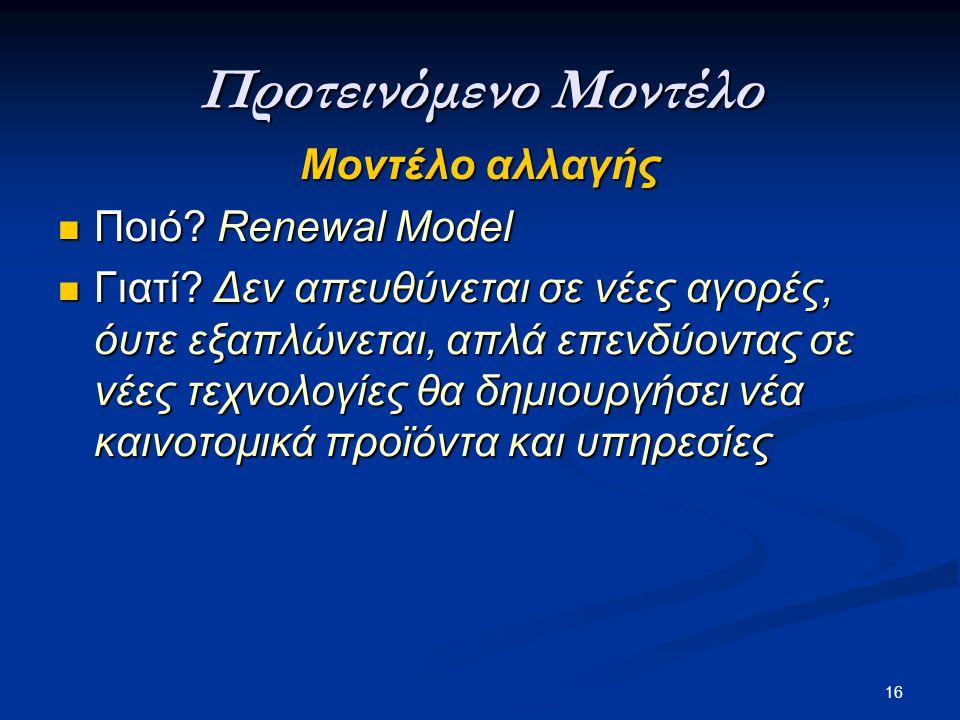 Προτεινόμενο Μοντέλο Μοντέλο αλλαγής Ποιό Renewal Model