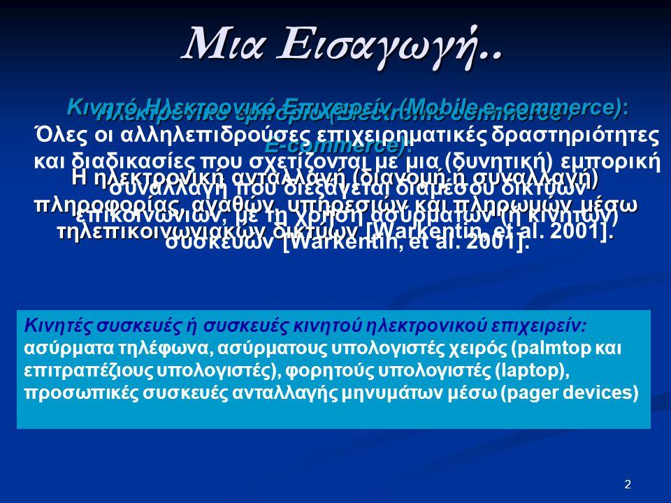 Μια Εισαγωγή.. Κινητό Ηλεκτρονικό Επιχειρείν (Mobile e-commerce):